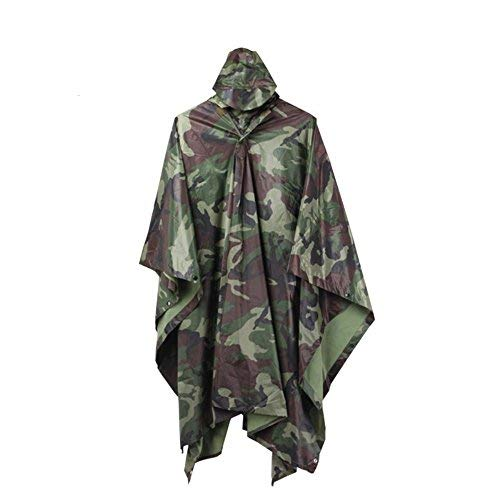 ELLEN Multifunction Waterproof Raincoat Military Camouflage Poncho for Camping Tent Rain Cover Outdoor (Jungle)