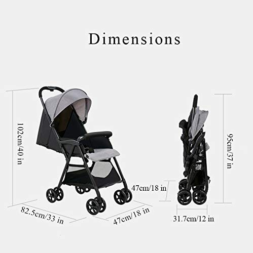 Zsail Summer Lightweight Pushchair Travel System, One Button to Collect Foldable High View Buggy Carrycot with Lying Position (Color : Pink)