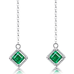 Natural Emerald Drop Earrings For Women
