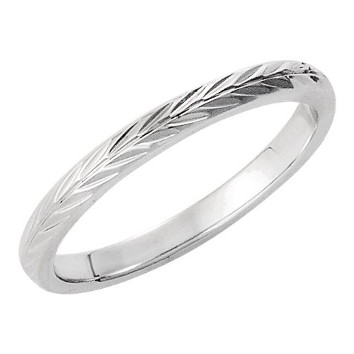 (2mm 14k White Gold Hand Engraved Wheat Pattern Band, Size 10)