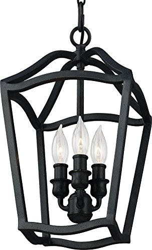 (Feiss F2974/3AF Yarmouth Pendant Lighting Lantern, Iron, 3-Light (9