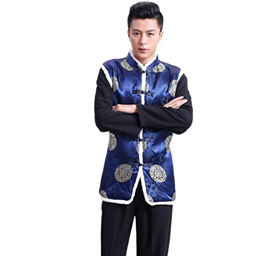 Traditional Mens Suit Coat (EXCELLANYARD Chinese Tang Suit Cotton-padded Waistcoat Winter Vests for Men XL)