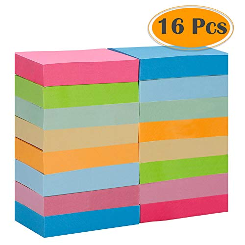 Post It Removable Message Pad - Selizo 16 Pads Mini Sticky Notes, 1 1/2 in x 2 in, 100 Sheets/Pad, 8 Colors