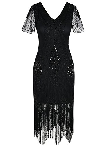 kayamiya 1920s Gatsby Dresses V Neck Inspired Sequins Cocktail Flapper Dress XXL Black -