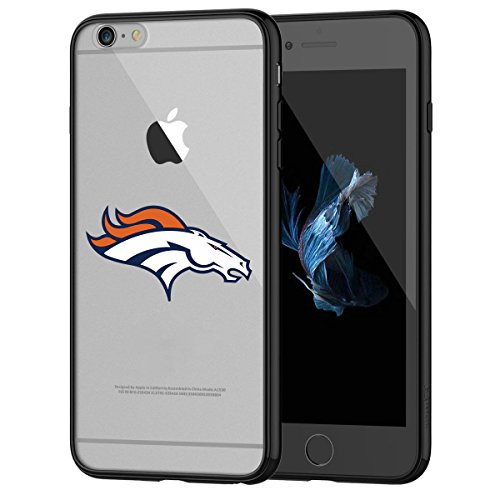 Broncos iPhone 6s Tough Case, Shock Absorption TPU + Translucent Frosted Anti-Scratch Hard Backplate Back Cover for iPhone 6 / 6s - Black