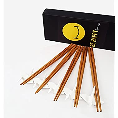 Happy Sales 5 piece Crane Chopstick Set w/ Rests WHT