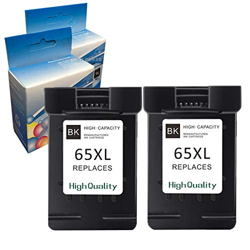 Machter Re-Manufactured Ink Cartridge Replacement for HP 65XL Compatible with DeskJet 2652 3752 3755 3758 All-in-one Printer, Show Ink Level (2 Black) -  HP65XL=2B