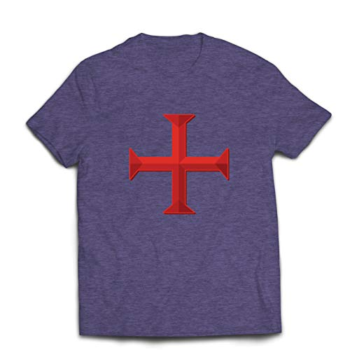 lepni.me Men's T-Shirt The Knights Templar Cross Poor Fellow-Soldiers of Christ (Small Heather Grey Multi Color)