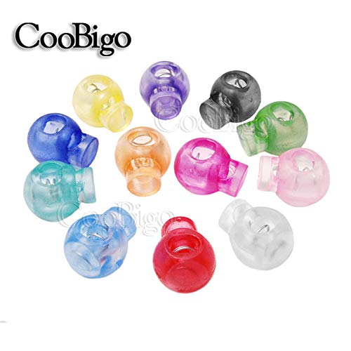 Green Shoppy Star 6pcs Cord Lock Round Ball Colorful Stopper Toggle Clip Transparent Clear Frost Shoe Lace Outdoor Backpack Bag Parts