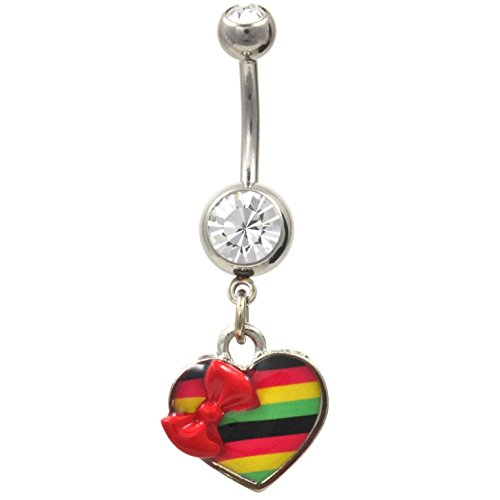 14G Rasta Colors Striped Heart and Bow Tie Belly Button Ring
