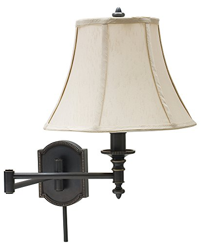 House of Troy WS761-OB Decorative 1LT Swing-Arm Wall Lamp, Oil Rubbed Bronze Finish with Beige Fabric Shade