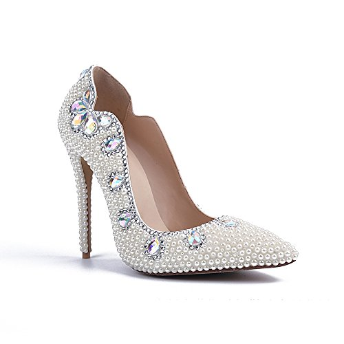 Jianda Women's Crystals Bridal Shoes Pearls Ladies Party Prom Leather Pumps 8 US