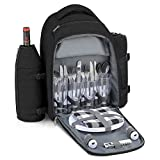 Gonex Picnic Backpack for 4 Person with Cutlery Set, Cooler Compartment, Waterproof Blanket, Detachable Wine Holder