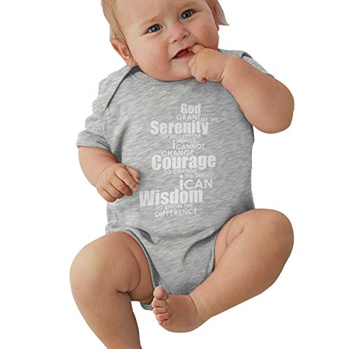Liberated 4 Ever Serenity Prayer, Serenity Prayer,Jesus Gray Baby Short Sleeve Bodysuit 0-3M (Prayers For Unborn Babies In The Womb)