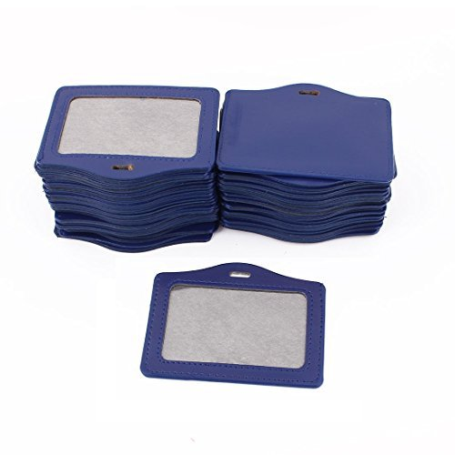 DealMux Faux Leather School Office Horizontal Business ID Badge Card Holder 50Pcs Blue