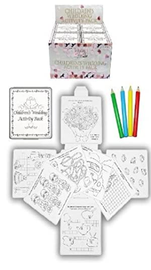 4 Wedding Childrens Activity Pack / Crayons Drawing Colouring Book Travel Games by Activity Pack