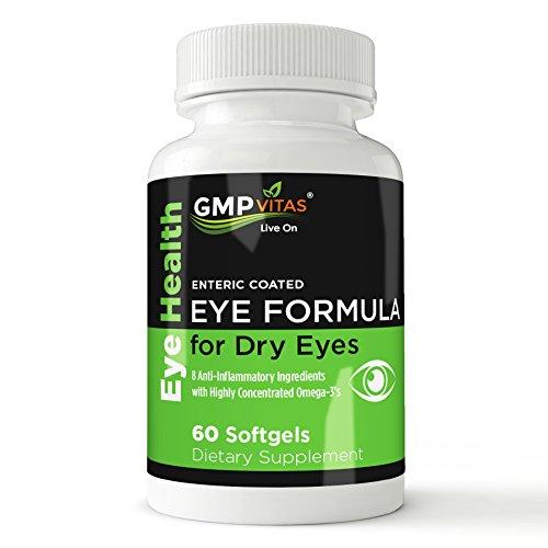 GMPVitas oeil enduit entérique formule - 1480mg supplément - 590mg Oméga-3 EPA - 440mg DHA-1000 UI UI de vitamine A-2000 vitamine D3