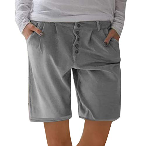 Botrong Fashion Women Solid Buttons Cotton and Linen Pockets Casual Vintage Short Pants (Gray,XL)