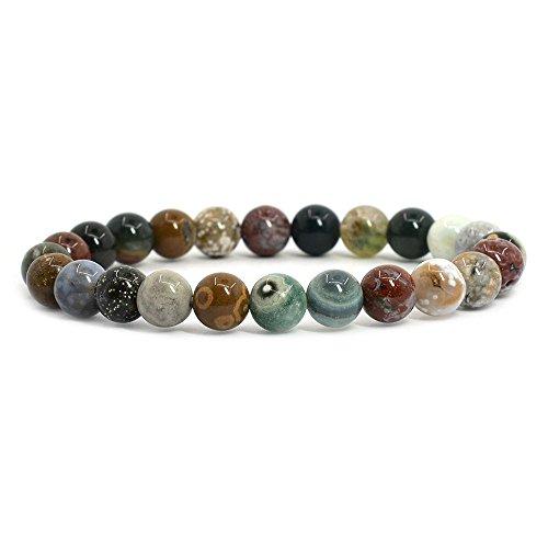 Natural Ocean Jasper Gemstone 8mm Round Beads Stretch Bracelet 7