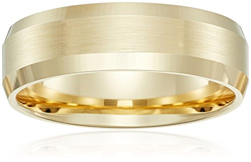 - 10k Yellow Gold 6mm Comfort-Fit Wedding Band with Satin Center and High-Polish Beveled Edges, Size 11