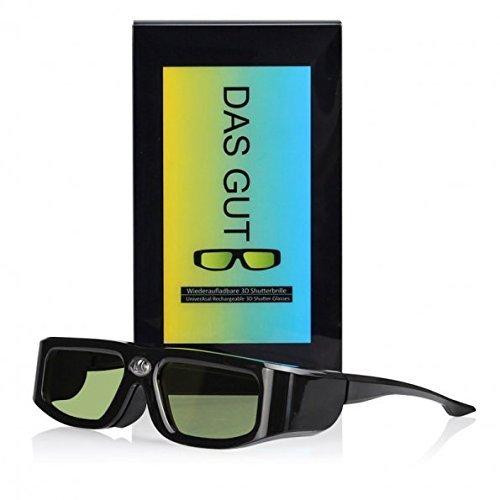 SainSonic DasGut GX 144Hz 3D IR Active Rechargeable Shutter Glasses for Acer ViewSonic BenQ Vivitek Optoma 3D DLP-Link Ready Projector Black
