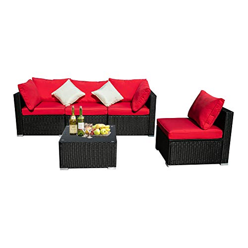 (KOOLWOOM Outdoor Patio Furniture Set,Sectional Wicker Sofa Washable Waterproof PE Cushions,Backyard,Pool (5, Red))