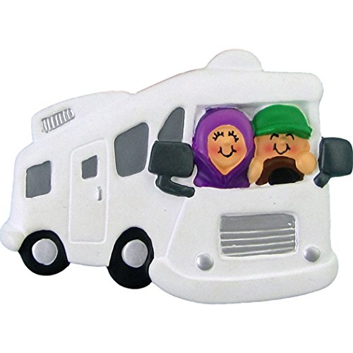 Personalized Motorhome RV Family of 2 Christmas Tree Ornament 2019 - Two Friends Siblings Couple Ride Recreational Vehicle Trailer Camper HomeAway 1st Hobby Truck - Free Customization