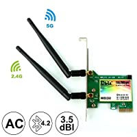 Ubit 802.11 AC Dual-Band 1167Mbps Wireless Network Card with Bluetooth 4.2, Wireless Network Card,Dual-Band 5Ghz-867Mbps/2.4Ghz-300Mbps,Pci-e Wireless WI-FI Adapter Network Card for PC(WIE8260)