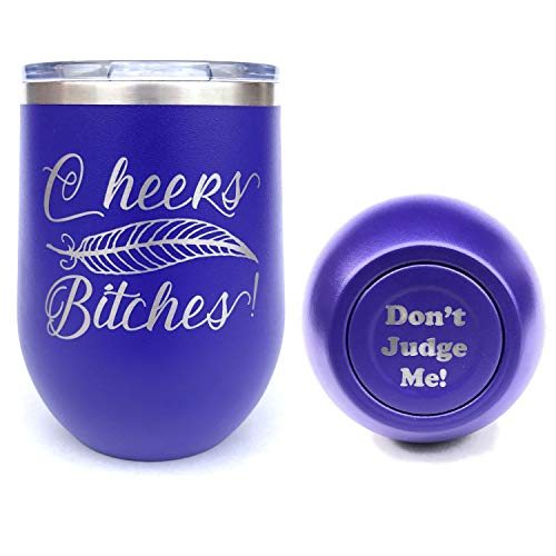 Insulated Wine Tumbler, Stemless Wine Tumbler, Laser Engraved, Funny, Cheers Bitches, Insulated, With Lid, Stainless Steel (Purple)]()