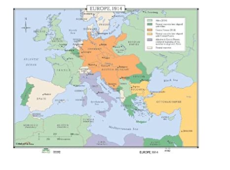 Amazon.com: World History Wall Maps - Europe 1914: Home ...
