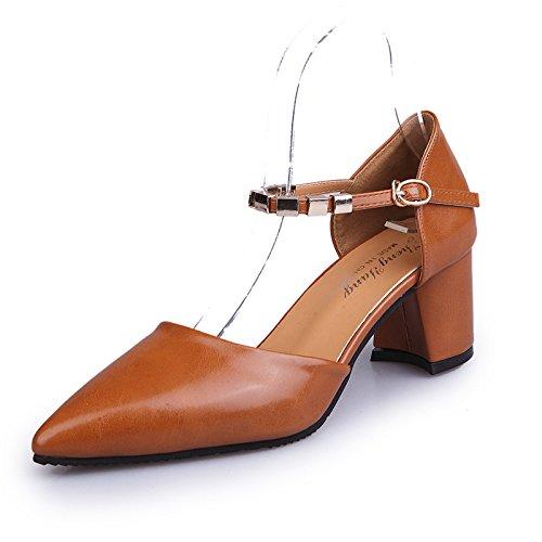 Paquet de Baotou avec Les Chaussures Élégantes et polyvalentes des Femmes avec l'épaisseur avec la Marée à Talons Hauts, Jaune 35
