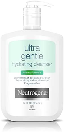 Neutrogena Ultra Gentle Hydrating Daily Facial Cleanser for Sensitive Skin, Oil-Free, Soap-Free, Hypoallergenic & Non-Comedogenic Creamy Face Wash,12 fl. oz