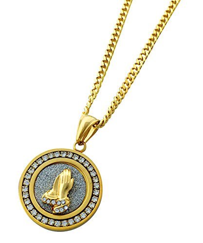 Praying Hands Charm - Exo Jewel Diamond Framed Mini Medallion Pendant Stainless Steel Necklace with 24