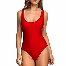 Womens One Piece Backless Bikini Suit Classic Padded Monokini Solid Bathing Wear