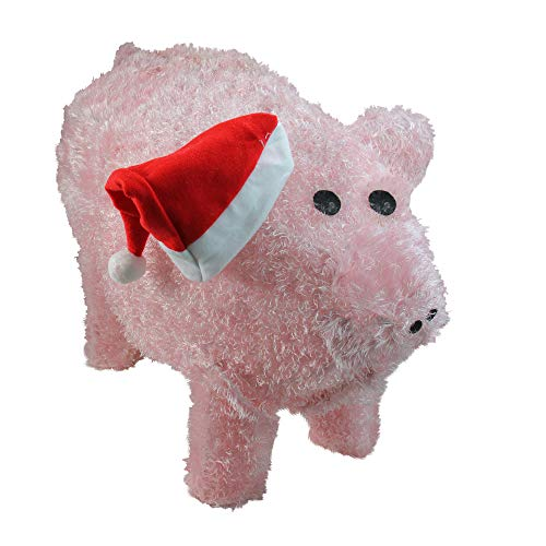Sienna Pre-Lit LED Outdoor Chenille Pig in Santa Hat Christmas Yard Art Decoration, 28
