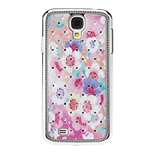 WEV Blooming Flowers Sequins Starry Diamond Texture Back Case for Samsung Galaxy S4 i9500