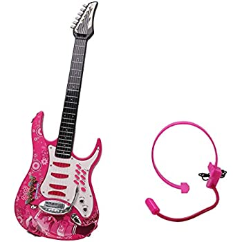 WOLFBUSH Electric Guitar for Children 6 Strings Guitar Toy with Earphone Early Educational Musical Instrument Toy for Toddler Boys Girls, 72×4×24cm (Pink)