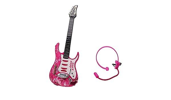 YAKOK 6 Cuerdas Guitarra Electrica Niños Guitarra con Microfono y Correa Rock Guitarra Bebe Juguete para Niños y Niñas 2-6 años (Rosa): Amazon.es: Hogar