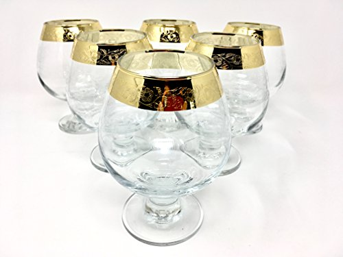 CRYSTAL GLASS SNIFTER GLASSES 13oz./400ml. GOLD PLATED SET OF 6 COGNAC BRANDY ARMAGNAC CALVADOS WHISKEY GLASSES ENGRAVED VINTAGE FLORAL DESIGN CLASSIC STEM GOBLETS