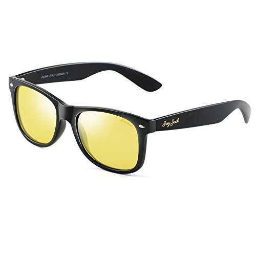 GREY JACK Classic Polarized Horn Rimmed Sunglasses for Men Women Night Vision Yellow