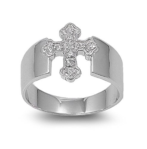Cubic Zirconia Cross Ring Sterling Silver Size 14