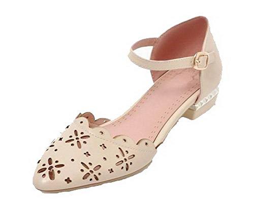 VogueZone009 Women Buckle Pu Closed-Toe Low-Heels Solid Sandals, CCALP014529 Beige
