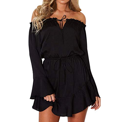 Clearance Sale ! Kshion Women's Casual Solid Blouse Flare Long Sleeve Slash-Neck Off Shoulder Evening Club Party Mini Dress (Black, 2XL)