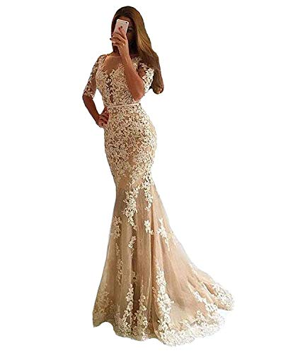 a0e72c87e0 Ruisha Women Long Sleeves Lace Appliques Prom Dresses 2019 Mermaid Formal  Evening Gown RS0046 US 6 Champagne
