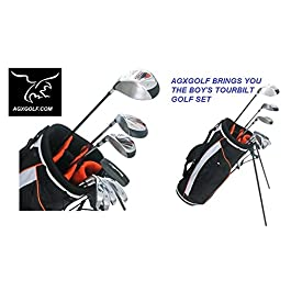 AGXGOLF Boys LEFT Hand TOURBILT (by POWERBILT) 12 Piece Complete Golf Club Set w460cc Driver, 3 Wood, Hybrid Iron, 7-PW Irons, Stand Bag & Free Putter; Teen or Tween or Tall Length: Fast Shipping!