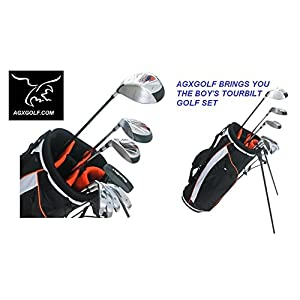 agxgolf-boys-left-hand-tourbilt-by-powerbilt-12-piece-complete-golf-club-set-w460cc-driver-3-wood-hybrid-iron-7-pw-irons-stand-bag-teen-or-tween-or-tall-length-fast-shipping