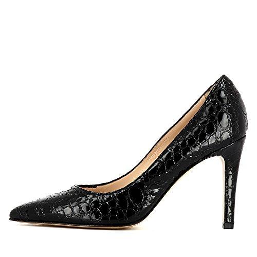 Evita Shoes Ilaria Damen Pumps Lack mit Prägung Schwarz