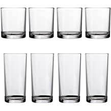 Classic 8-piece Premium Quality Plastic Tumblers | 4 each: 14-ounce and 16-ounce Clear