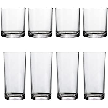 8pc Classic Break-resistant Restaurant-quality SAN Plastic Tumblers, four 14-ounce rocks and four 16-ounce water