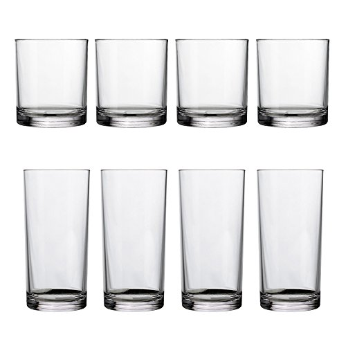 8pc Classic Break-resistant Restaurant-quality SAN Plastic Tumblers, four 12oz rocks and four 16oz water